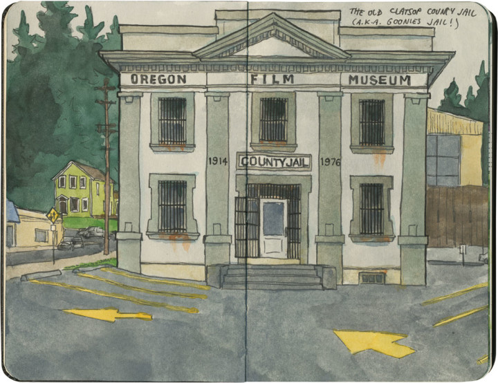 Old Clatsop County Jail sketch by Chandler O'Leary