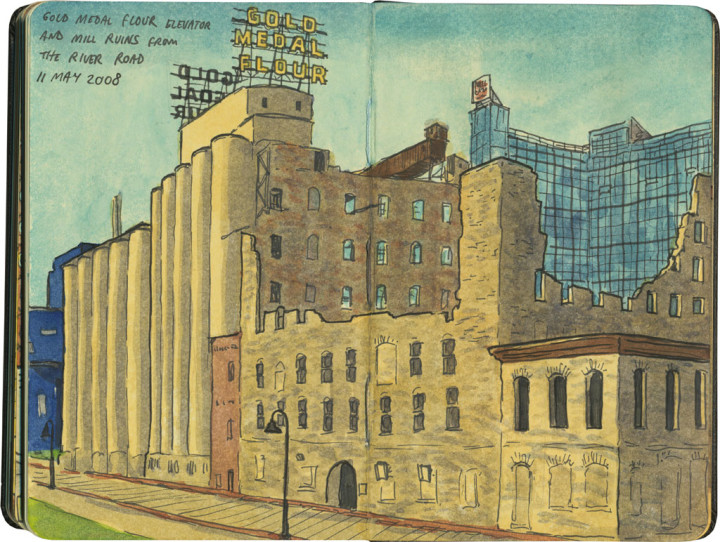 Minneapolis mill ruins sketch by Chandler O'Leary