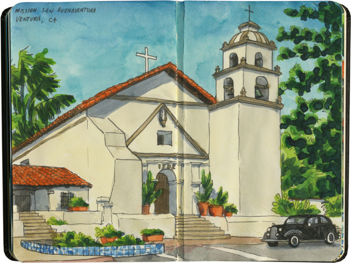 Mission San Buenaventura sketch by Chandler O'Leary