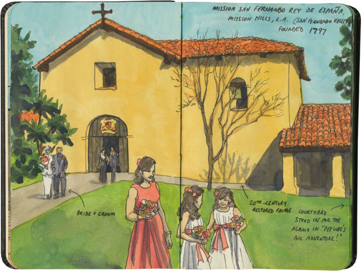 Mission San Fernando Rey de España sketch by Chandler O'Leary