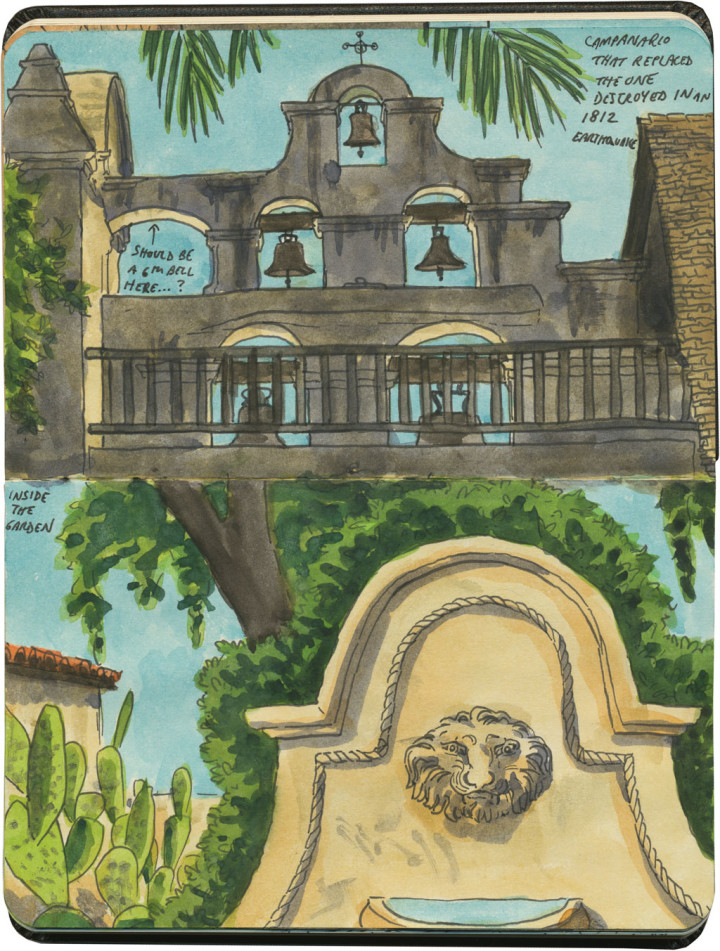 Mission San Gabriel Arcángel sketch by Chandler O'Leary
