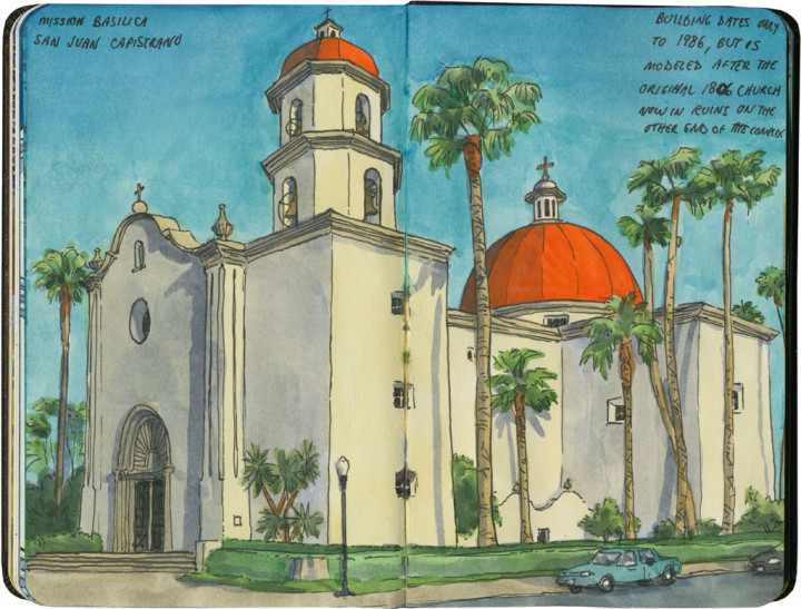 Mission San Juan Capistrano sketch by Chandler O'Leary