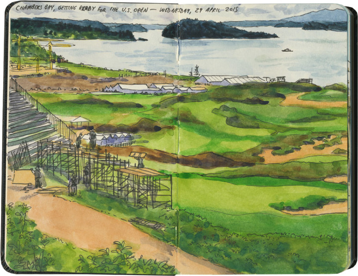 Chambers Bay golf course sketch by Chandler O'Leary