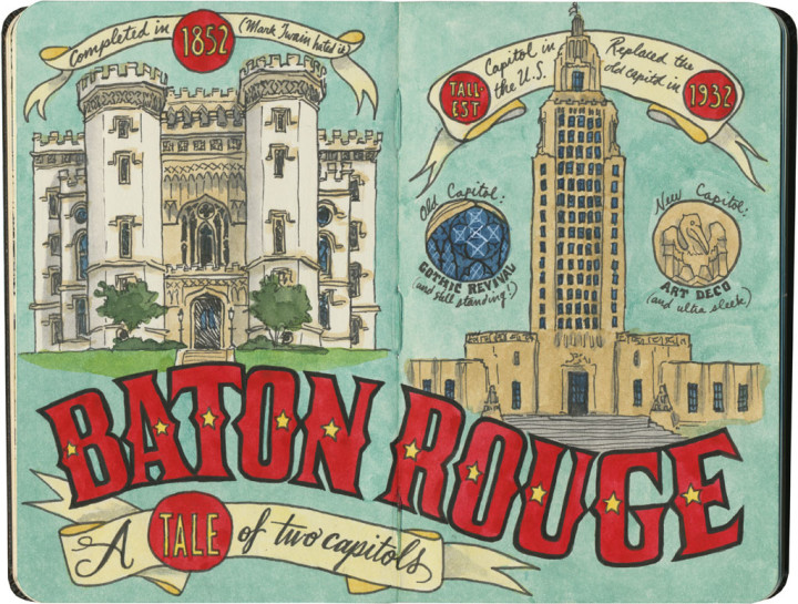 Baton Rouge old and new capitols sketch by Chandler O'Leary