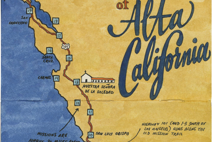 Detail of California Missions map sketch by Chandler O'Leary