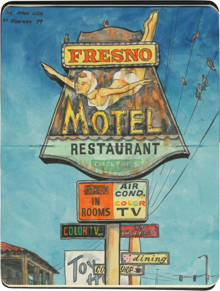 Fresno Motel sketch by Chandler O'Leary