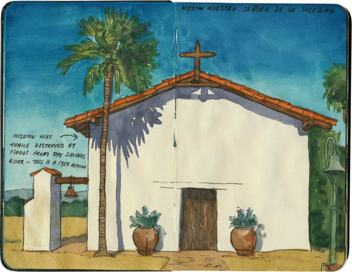 Mission Nuestra Senora de la Soledad sketch by Chandler O'Leary