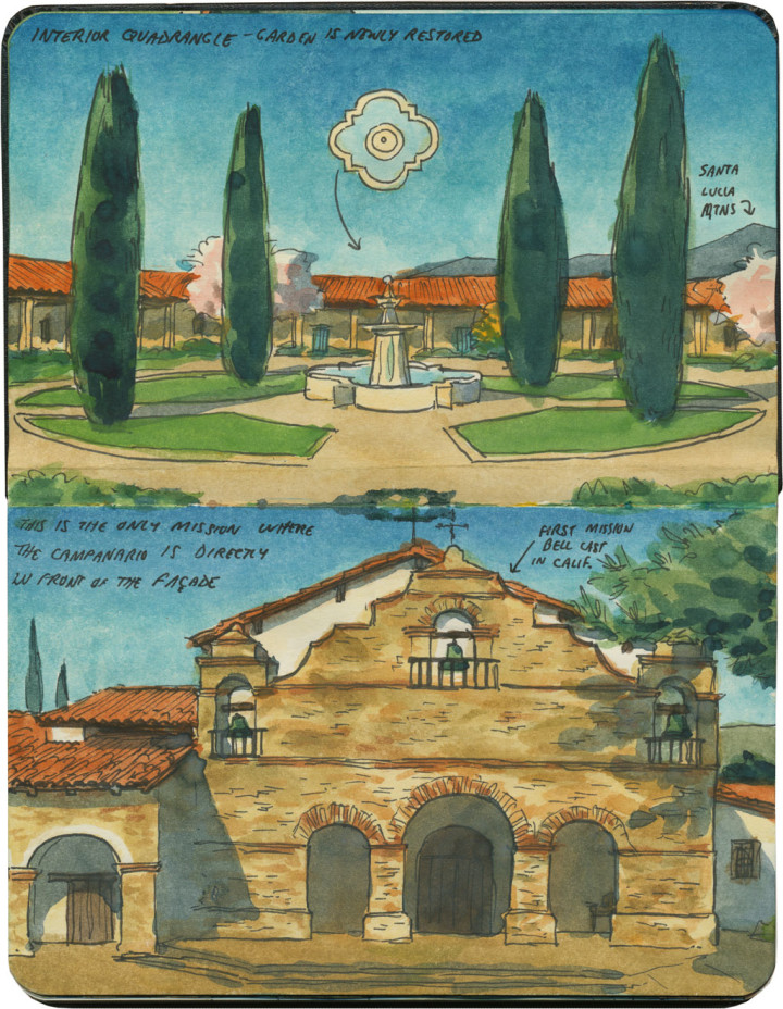 Mission San Antonio de Padua sketch by Chandler O'Leary