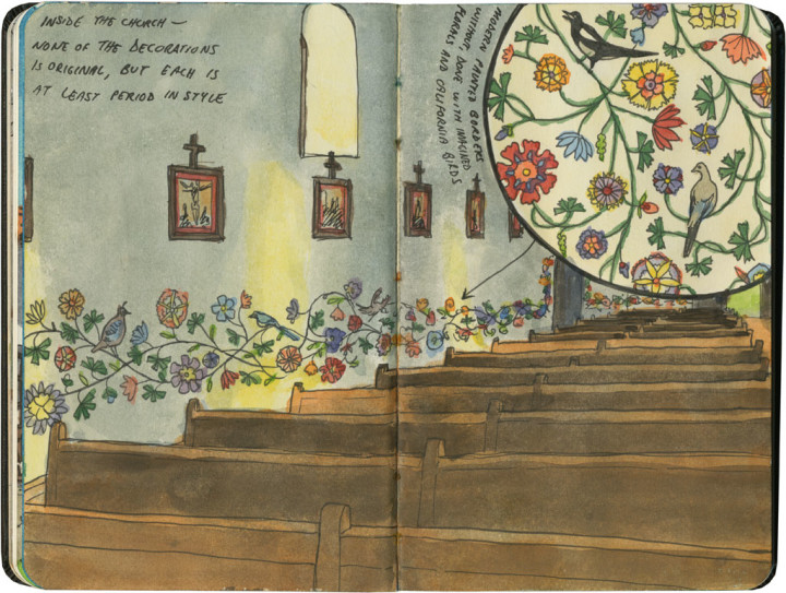 Mission San Luis Obispo de Tolosa sketch by Chandler O'Leary