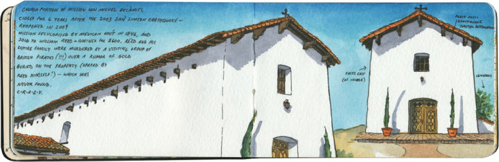 Mission San Miguel Arcángel sketch by Chandler O'Leary
