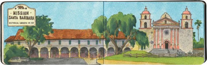 Mission Santa Barbara sketch by Chandler O'Leary