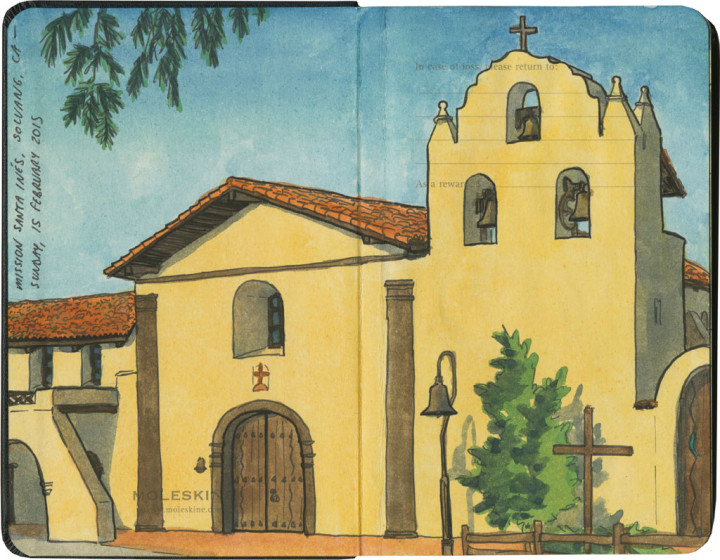 Mission Santa Inés sketch by Chandler O'Leary