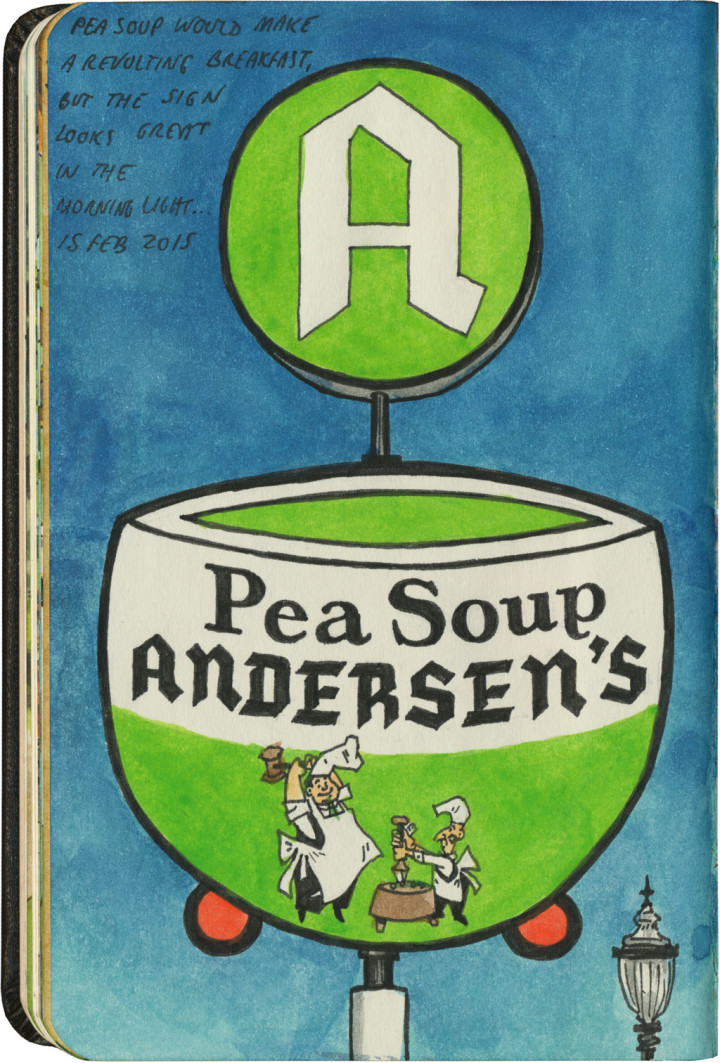 Pea Soup Andersen's sketch by Chandler O'Leary