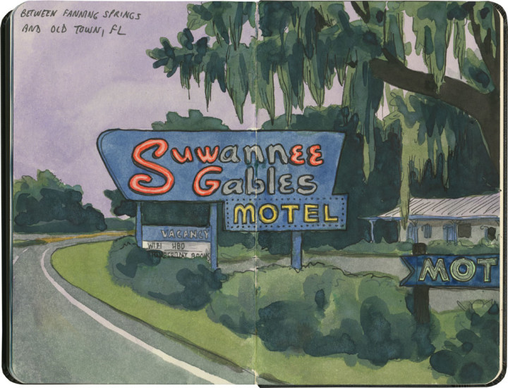 Suwannee Gables Motel sketch by Chandler O'Leary