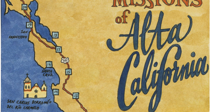 Map Of California Missions Locations.Mission Monday Drawn The Road Again