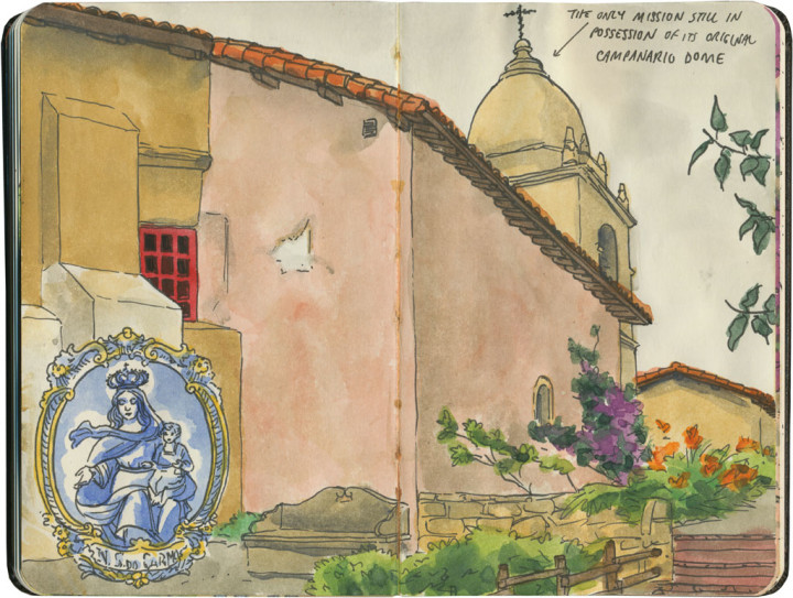 Mission San Carlos Borromeo de Carmelo sketch by Chandler O'Leary