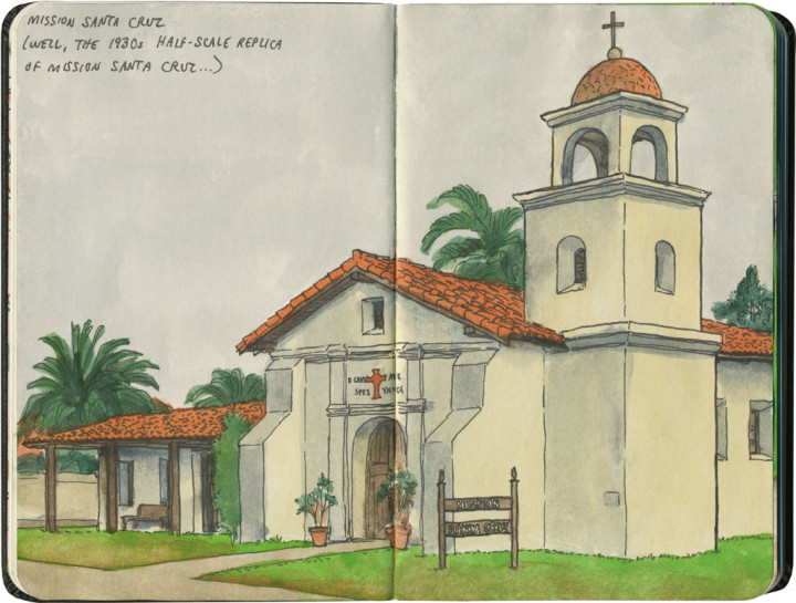 Mission Santa Cruz sketch by Chandler O'Leary