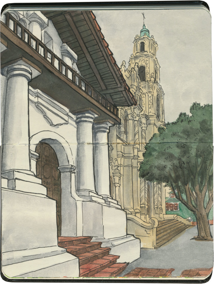 Mission San Francisco de Asís sketch by Chandler O'Leary