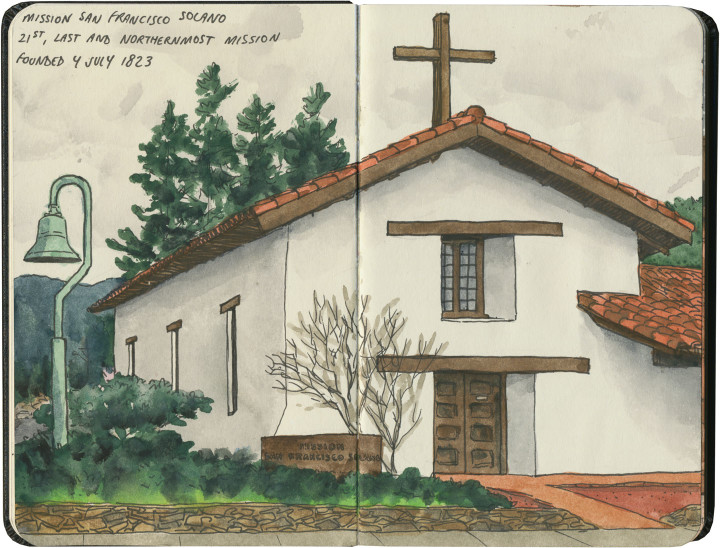 Mission San Francisco Solano sketch by Chandler O'Leary