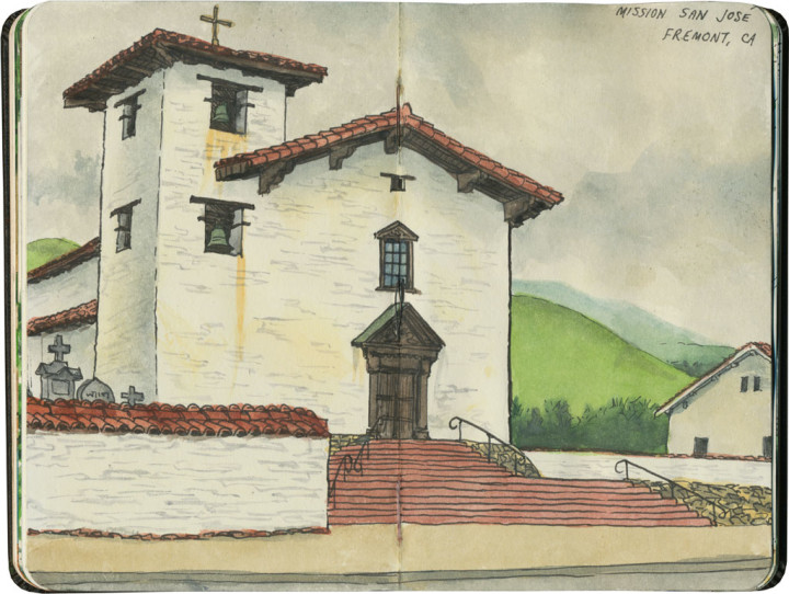 Mission San Jose sketch by Chandler O'Leary