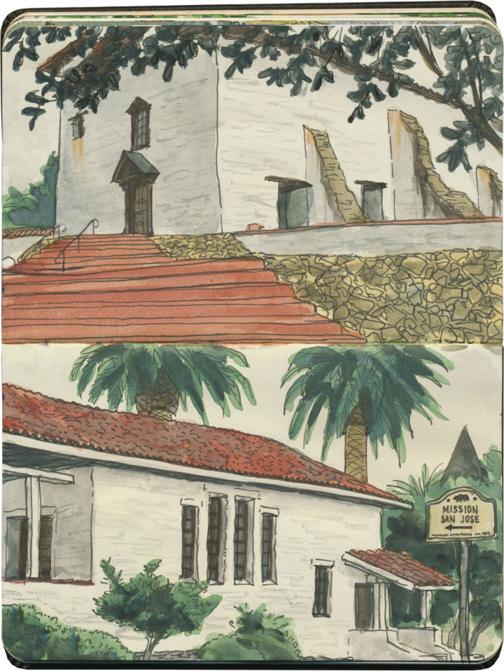 Mission San Jose sketches by Chandler O'Leary