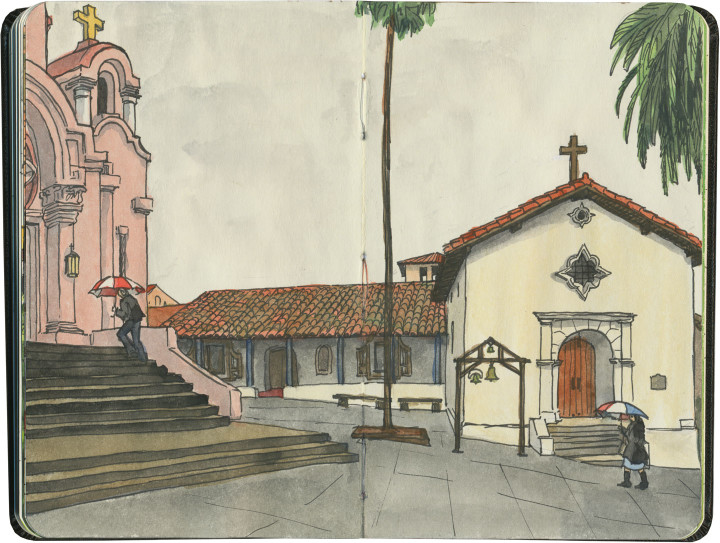 Mission San Rafael Arcángel sketch by Chandler O'Leary