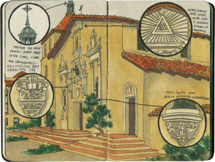 Mission Santa Clara sketch by Chandler O'Leary