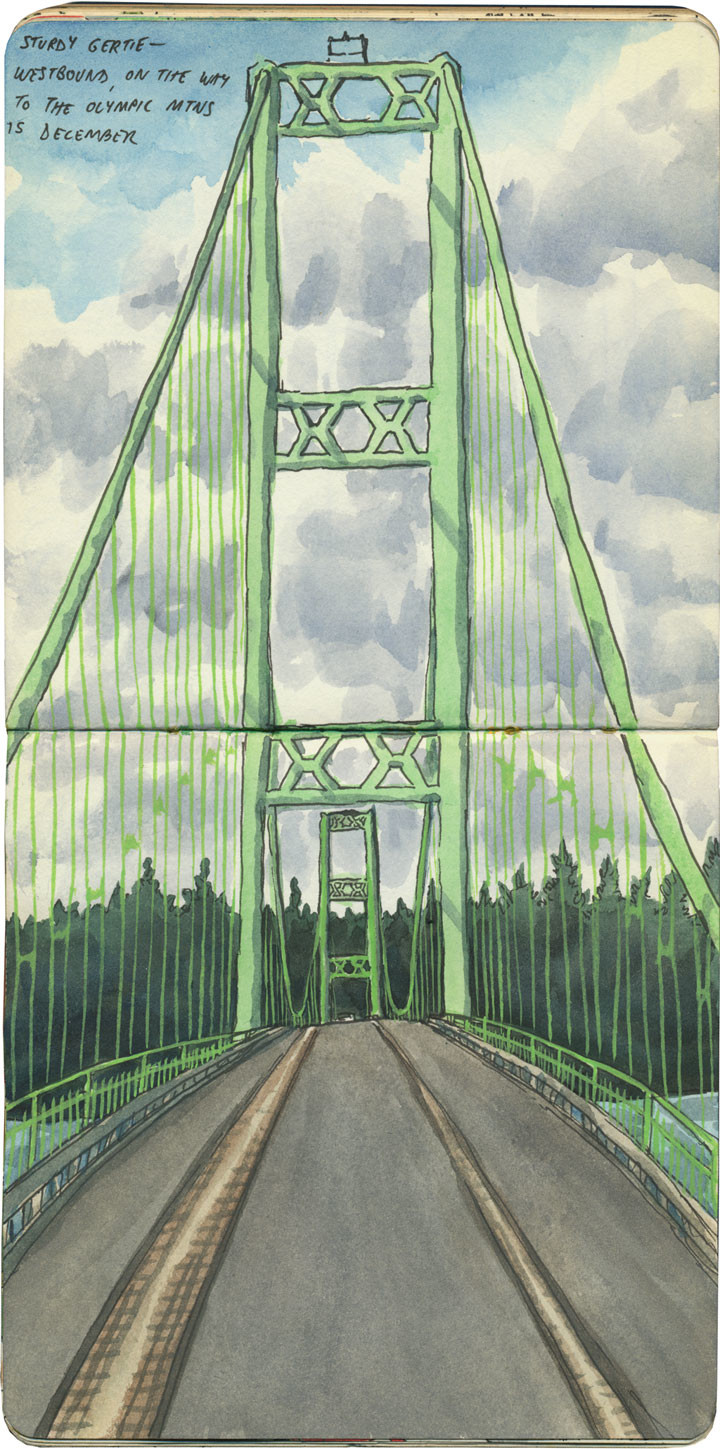 Tacoma Narrows Bridge sketch by Chandler O'Leary