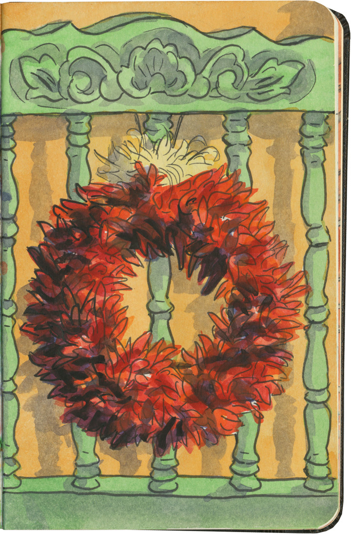 Chili ristra wreath sketch by Chandler O'Leary