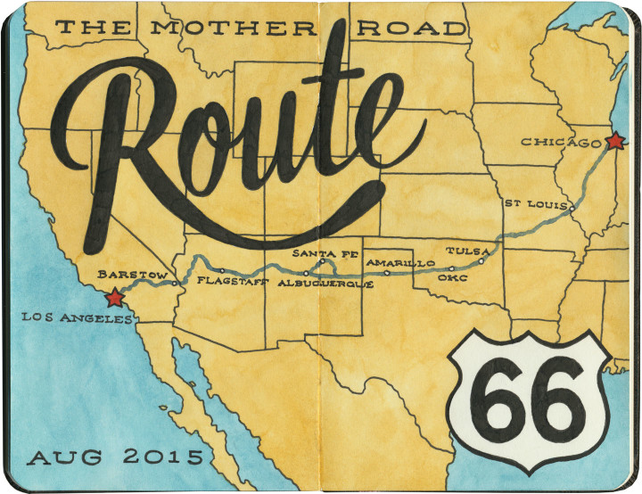 Route 66 sketch map by Chandler O'Leary
