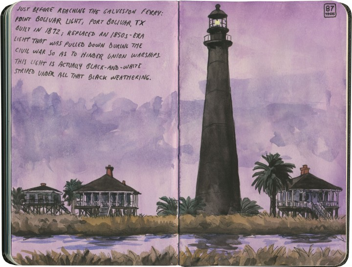 Pt. Bolivar Lighthouse sketch by Chandler O'Leary