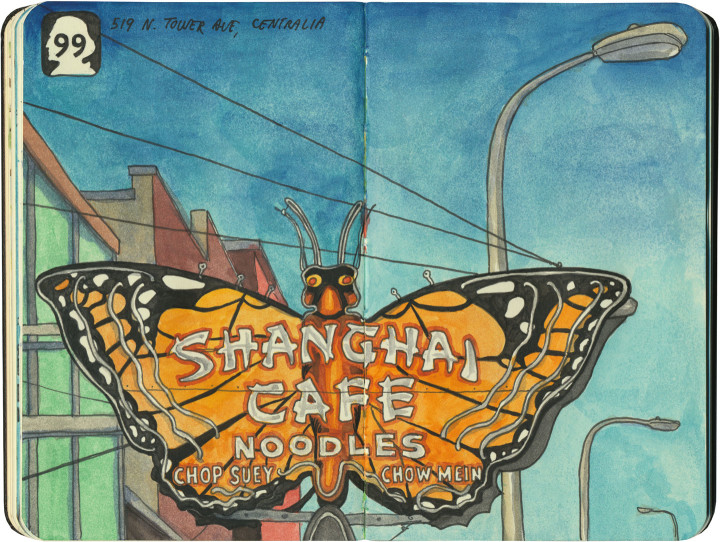 Highway 99 butterfly sign sketch by Chandler O'Leary