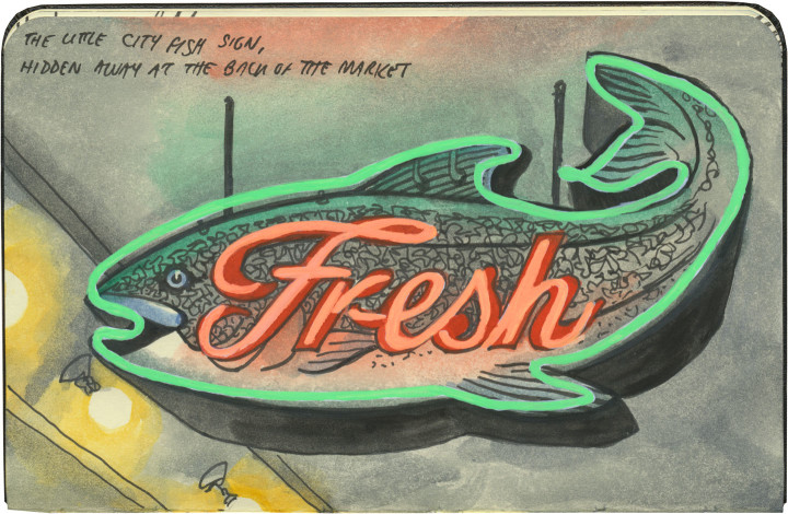 Fish sign sketch by Chandler O'Leary