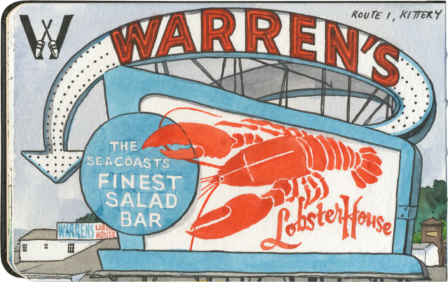 Lobster sign sketch by Chandler O'Leary