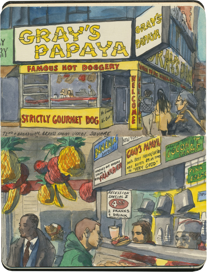 New York papaya sketch by Chandler O'Leary