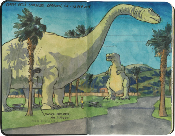 Cabazon dinosaurs sketch by Chandler O'Leary