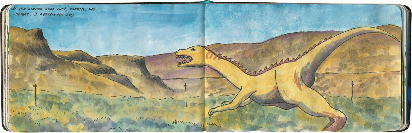 Gingko Gem Shop dinosaurs sketch by Chandler O'Leary