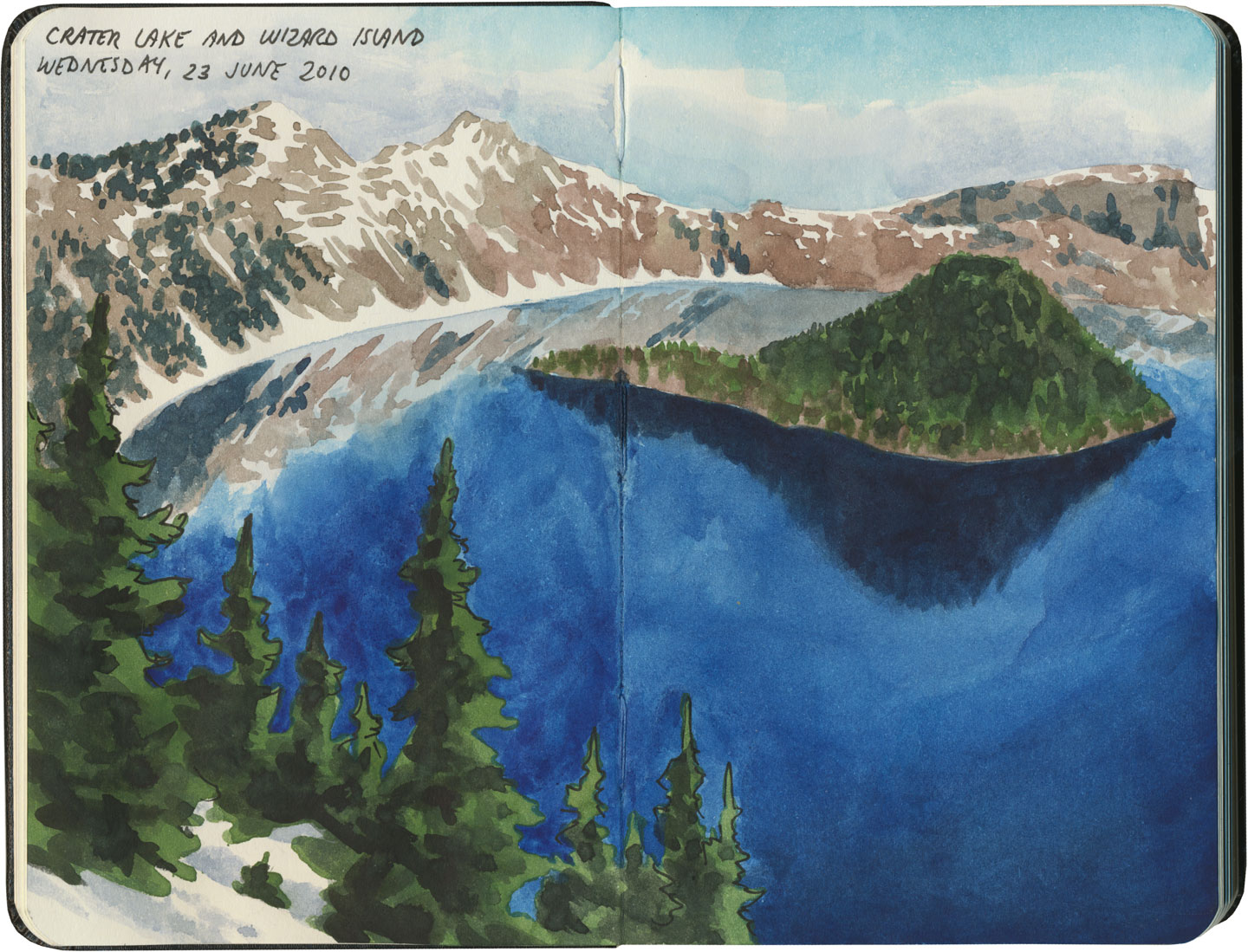 Crater Lake National Park sketch by Chandler O'Leary