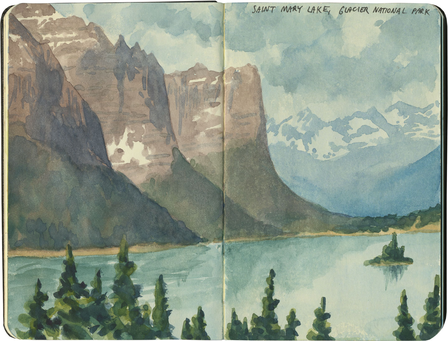 Glacier National Park sketch by Chandler O'Leary