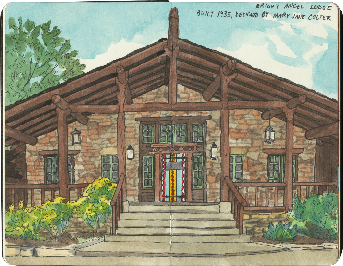 Grand Canyon sketch by Chandler O'Leary featuring Bright Angel Lodge, a former Harvey House