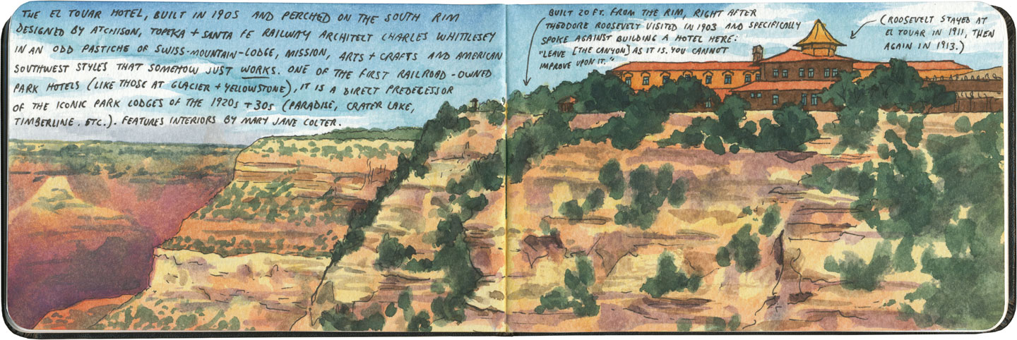 Grand Canyon sketch by Chandler O'Leary featuring El Tovar Hotel, a former Harvey House