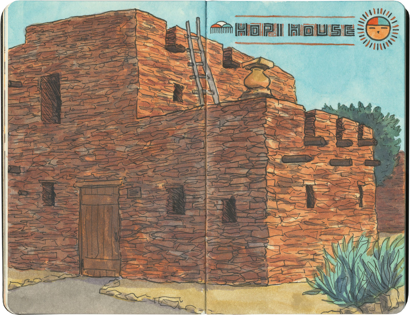 Grand Canyon sketch by Chandler O'Leary featuring Hopi House, a former Harvey House