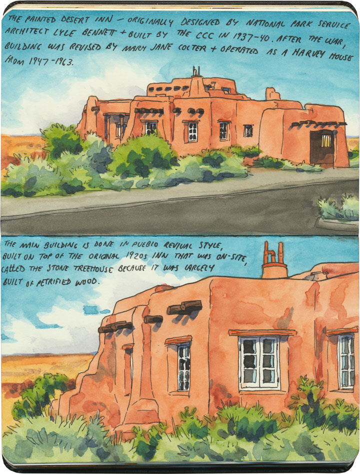 Petrified Forest National Park sketch by Chandler O'Leary featuring Painted Desert Inn, a former Harvey House