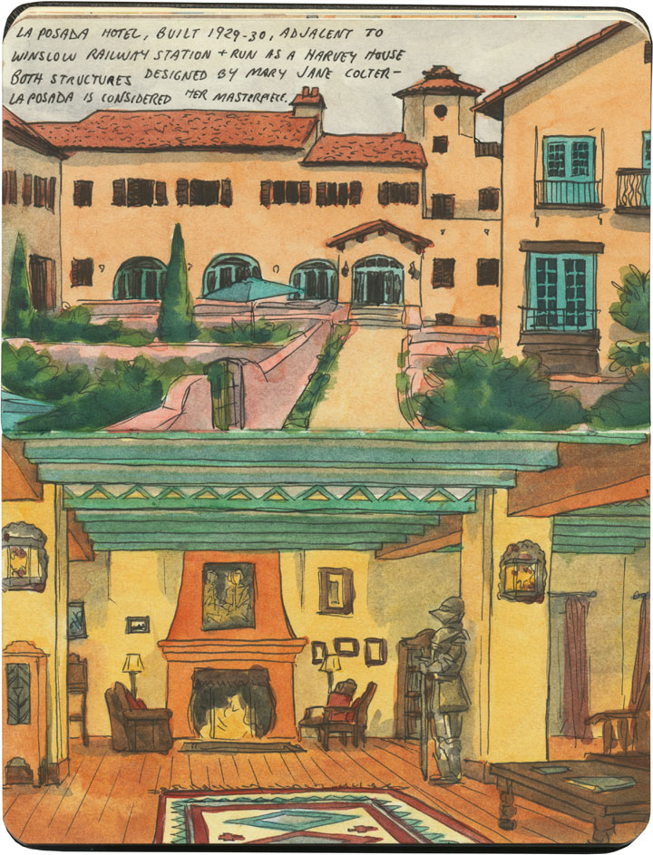La Posada Harvey House sketch by Chandler O'Leary