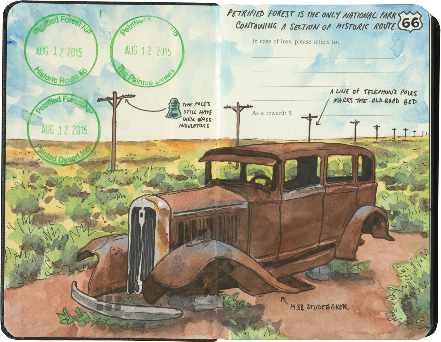 Petrified Forest National Park and Route 66 sketch by Chandler O'Leary