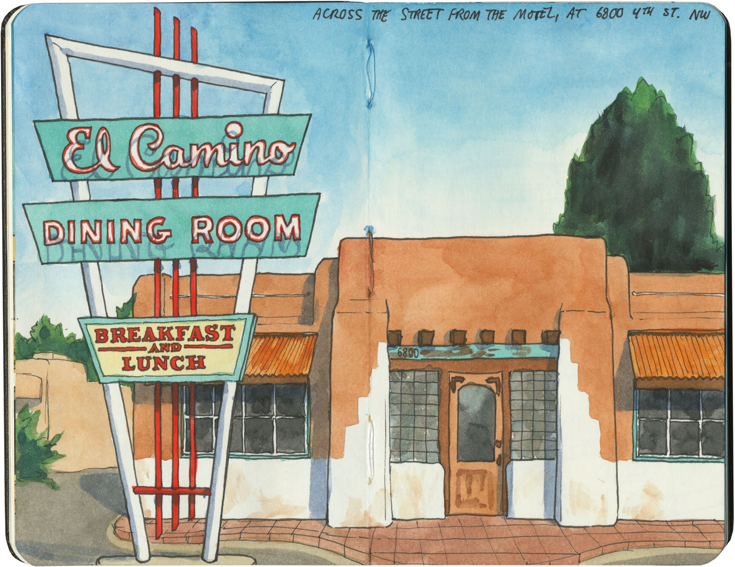 El Camino Dining Room sketch by Chandler O'Leary