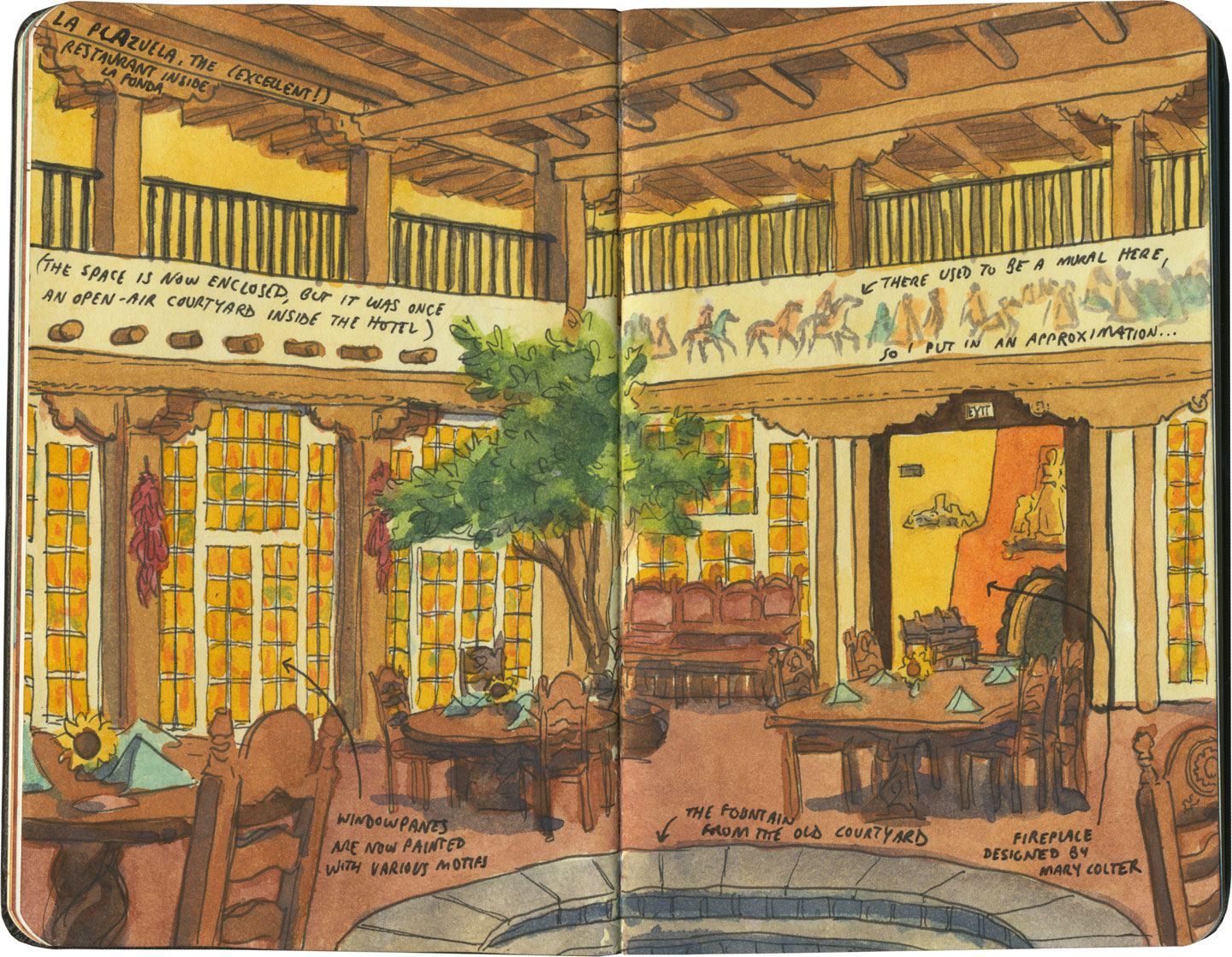Santa Fe sketch by Chandler O'Leary, featuring Hotel La Fonda, a former Harvey House
