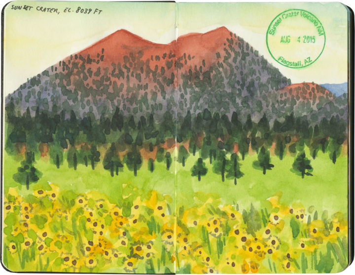 Sunset Crater National Monument sketch by Chandler O'Leary