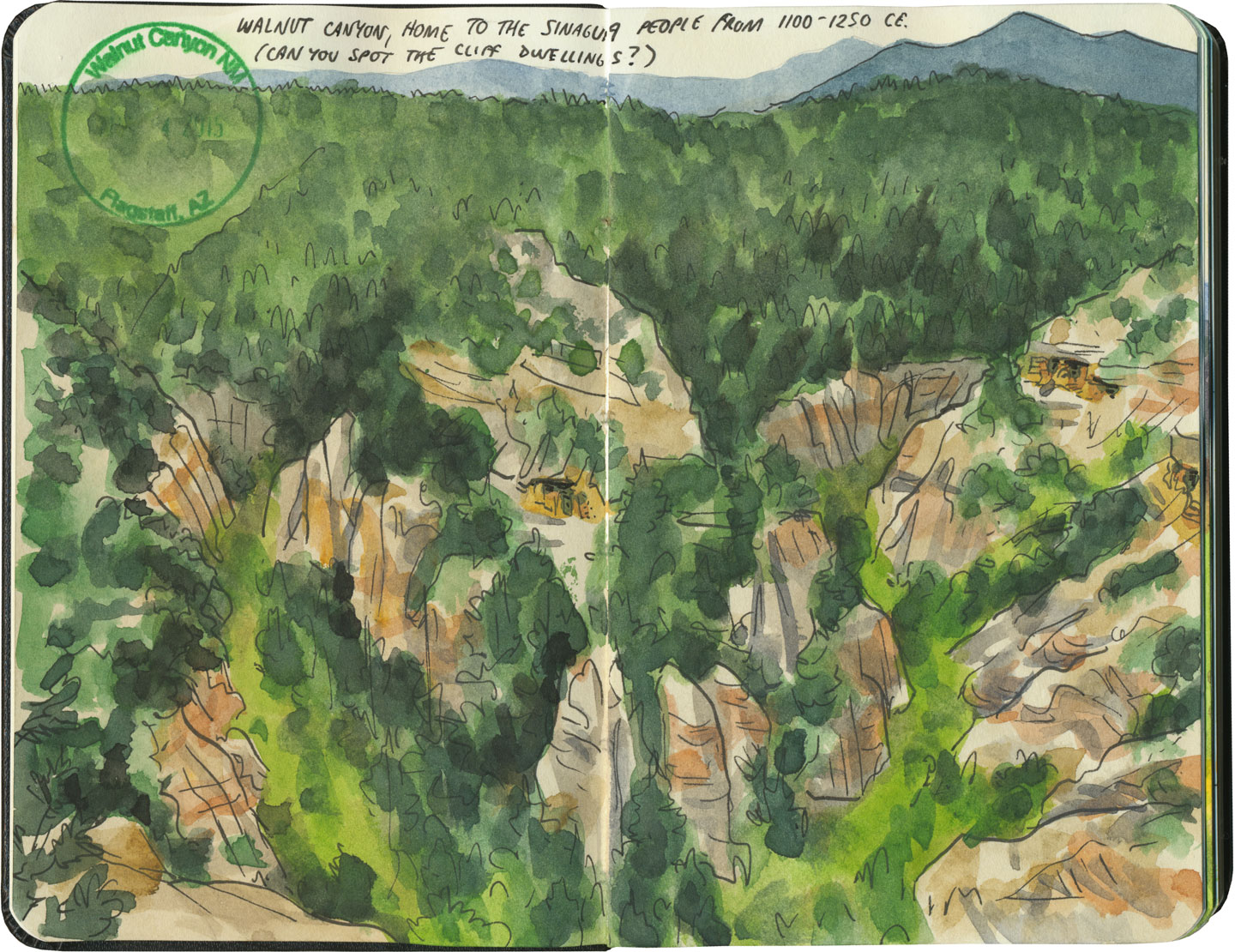 Walnut Canyon National Monument sketch by Chandler O'Leary
