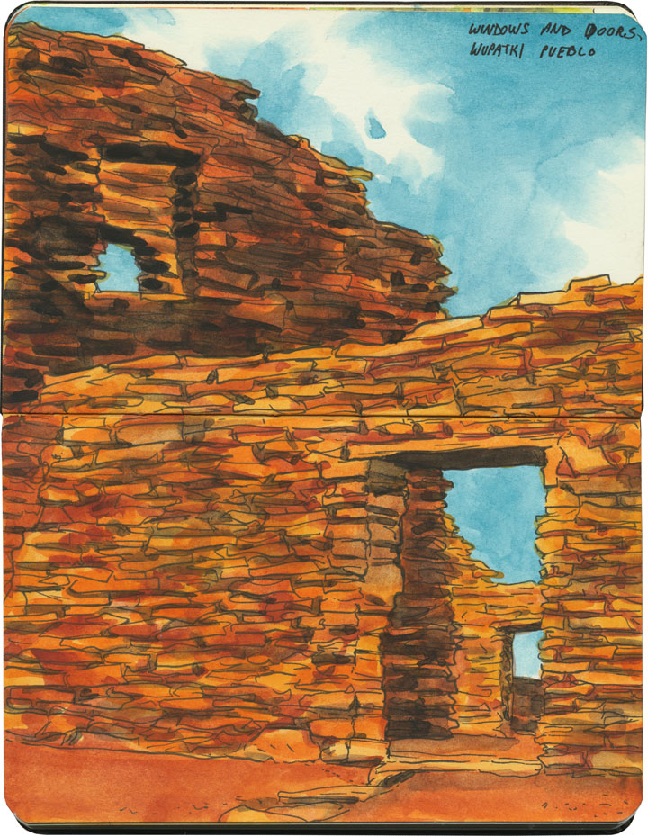 Wupatki National Monument sketch by Chandler O'Leary